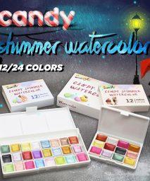 Seamiart 12/24 Watercolor Paint Set Metallic Glitter For Artists School Stationery Graffiti Tool Solid Pigment Art Supplies